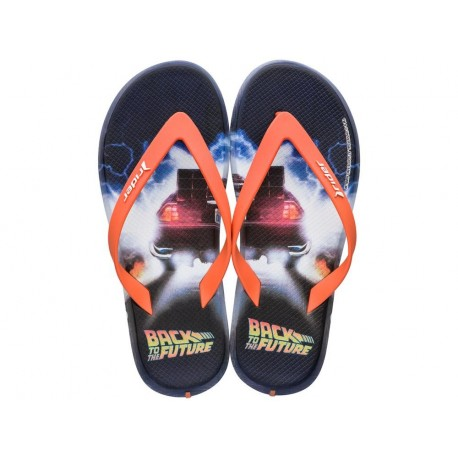 RIDER BLOCKBUSTER black and orange fantasy print flat finger flip flops for man