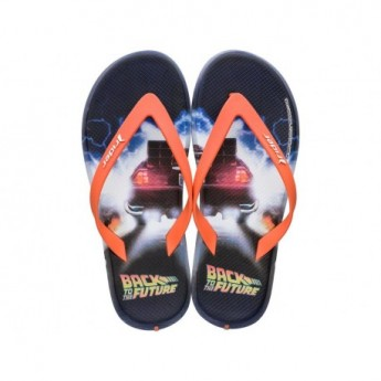 RIDER BLOCKBUSTER universal black and orange fantasy print flat finger flip flops for man