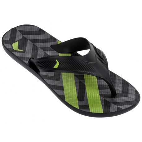 STRIKE PLUS black and green geometric shapes print flat finger flip flops for man