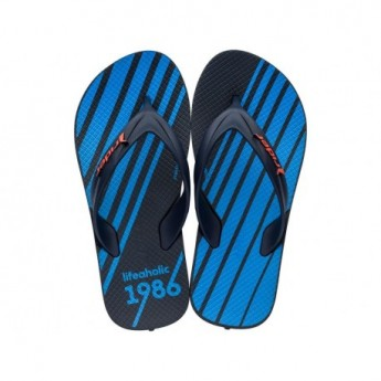 STRIKE GRAPHICS blue geometric shapes print flat finger flip flops for child