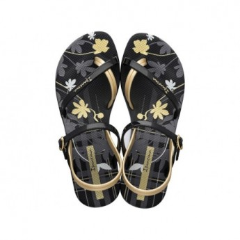 FASHION SAND VI F black and gold floral print flat finger sandals for woman