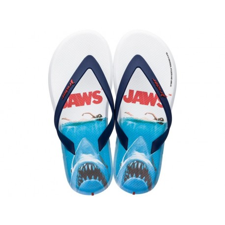 RIDER BLOCKBUSTER universal blue and white fantasy print flat finger flip flops for man