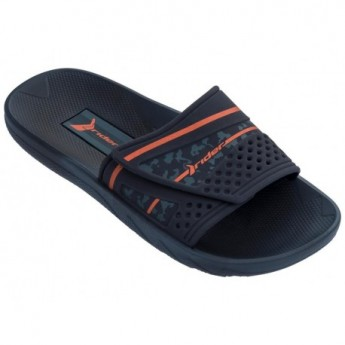 VANCOUVER III blue and orange flat shovel flip flops for man