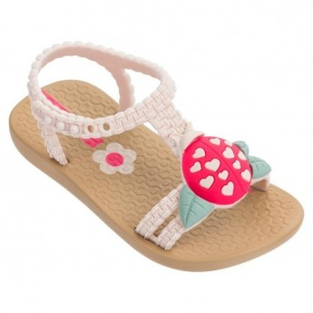 IV beige flat open sandals for baby