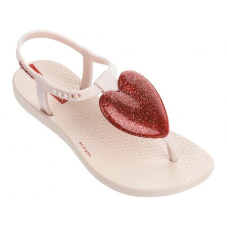 CHARM III beige and red flat finger sandals for child