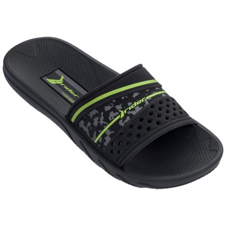 MONTREAL III black flat shovel flip flops for child