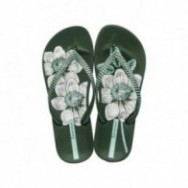 ANAT NATURE III F green floral print flat finger flip flops for woman