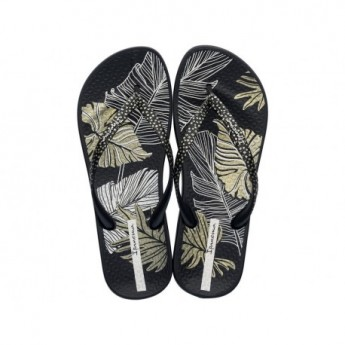 ANAT NATURE III F black tropical print flat finger flip flops for woman