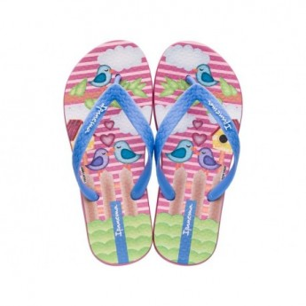 CLASSIC VII blue and pink fantasy print flat finger flip flops for child