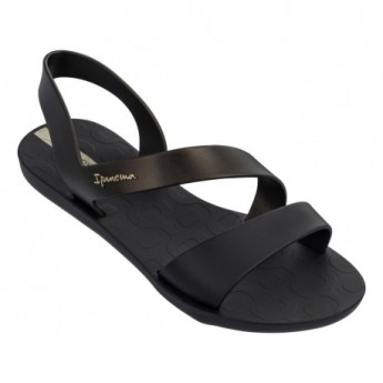 VIBE black and gold flat roman sandals for woman