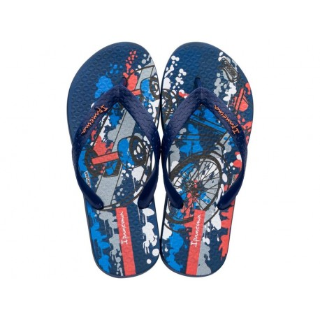 CLASSIC VII blue urban print flat finger flip flops for child