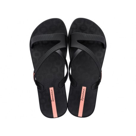 ART black and pink flat shovel flip flops for woman
