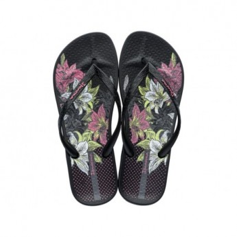 ANAT TEMAS VIII F black and pink floral print flat finger flip flops for woman
