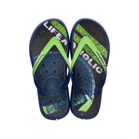 ENERGY VI blue and green urban print flat finger flip flops for child
