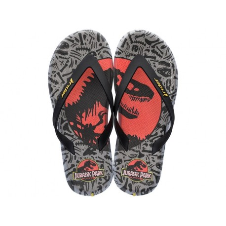 RIDER BLOCKBUSTER universal black and grey fantasy print flat finger flip flops for man