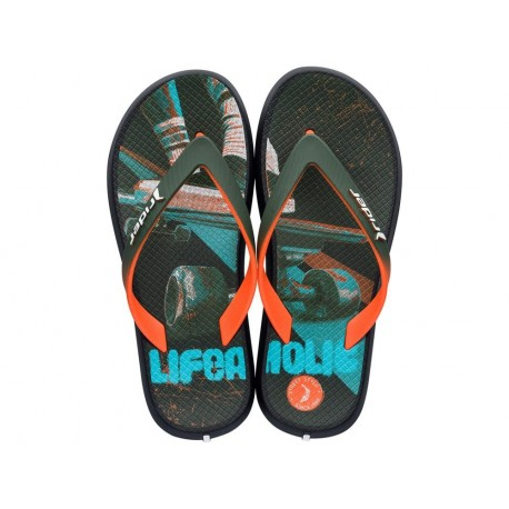 ENERGY VI black and green urban print flat finger flip flops for child
