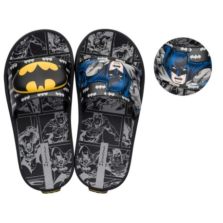 IPANEMA LIGA DA JUSTICA black and grey fantasy print flat shovel flip flops for child