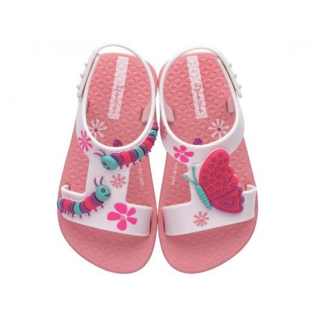 DIVERSAO pink flat open sandals for baby