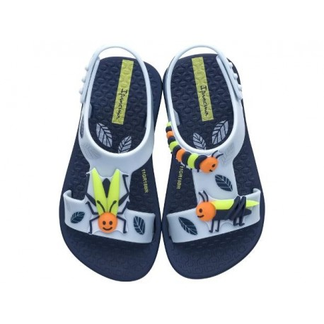 DIVERSAO blue flat open sandals for baby