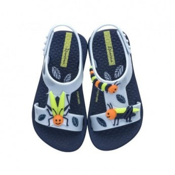 DIVERSAO blue flat roman sandals for baby