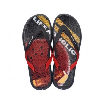 R1 ENERGY PLUS II A black and grey urban print flat finger flip flops for man
