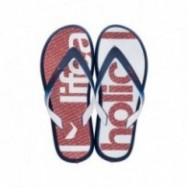 R1 ENERGY PLUS II A blue and red urban print flat finger flip flops for man