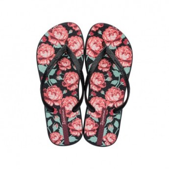 TROPICAL VIII black tropical print flat finger flip flops for woman