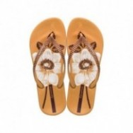 ANAT NATURE III F yellow floral print flat finger flip flops for woman