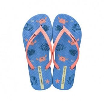 + MR WONDERFUL blue and pink fantasy print flat finger flip flops for woman