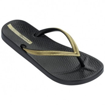 MESH III black and gold flat finger flip flops for woman