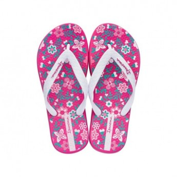 CLASSIC VII pink and white floral print flat finger flip flops for child
