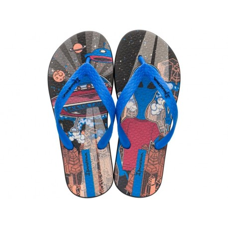 CLASSIC VII black and blue fantasy print flat finger flip flops for child