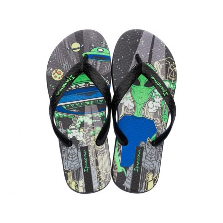 CLASSIC VII black fantasy print flat finger flip flops for child