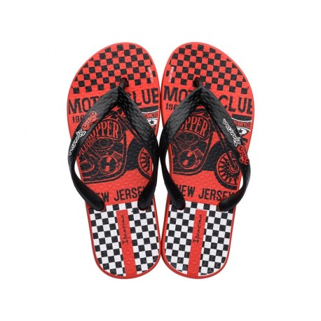 TEMAS XII black and red urban print flat finger flip flops for child