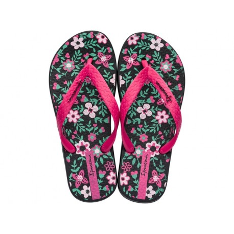 CLASSIC VII black and pink floral print flat finger flip flops for child