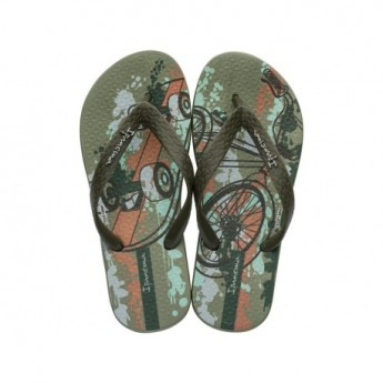CLASSIC VII green urban print flat finger flip flops for child