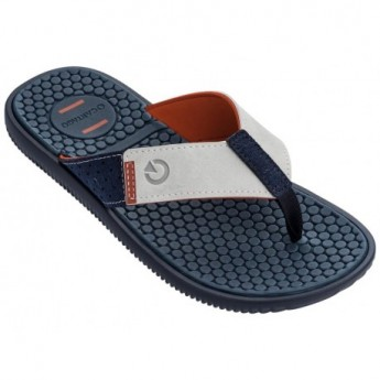 BARCELONA II blue and brown flat finger flip flops for man