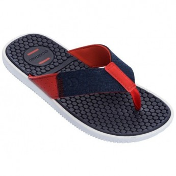 BARCELONA II blue and red flat finger flip flops for man