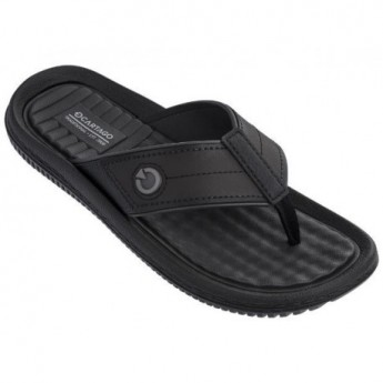FIJI IV black and brown flat finger flip flops for man