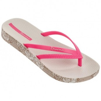 BOSSA SOFT II beige and pink flat finger flip flops for woman