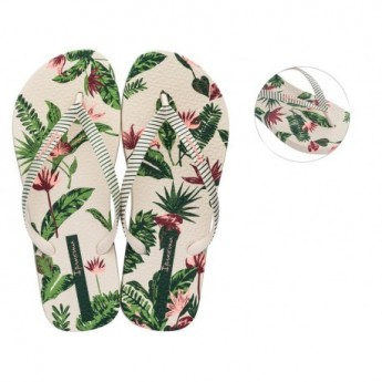 I LOVE TROPICAL beige and green tropical print flat finger flip flops for woman