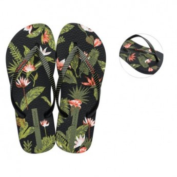 I LOVE TROPICAL black and green tropical print flat finger flip flops for woman