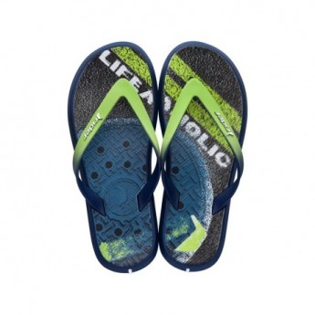 R1 ENERGY PLUS II A blue and green urban print flat finger flip flops for man