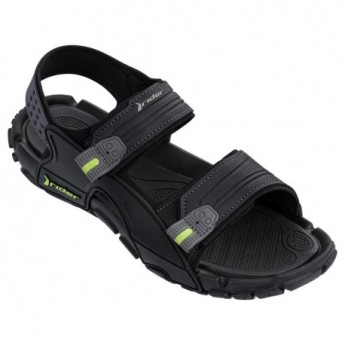 TENDER X black flat roman sandals for man
