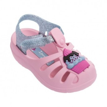 SUMMER V pink and silver flat crab sandals for baby