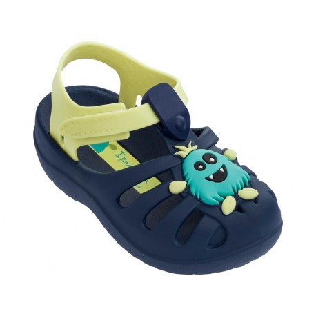 SUMMER V blue and yellow flat crab sandals for baby