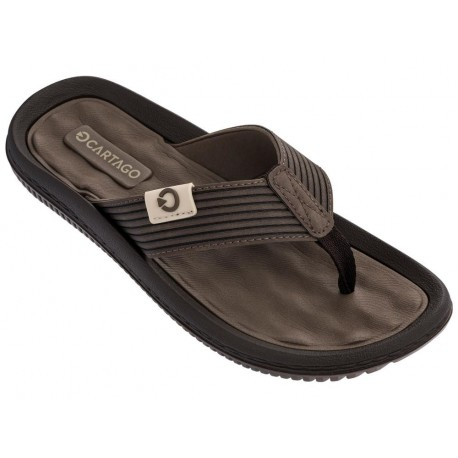 DUNAS VI brown flat finger flip flops for man