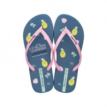 + MR WONDERFUL blue and pink tropical print flat finger flip flops for woman