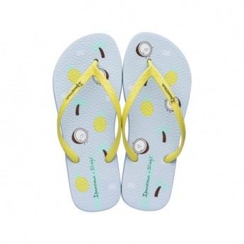 + MR WONDERFUL blue and yellow tropical print flat finger flip flops for woman