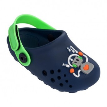 LUNAR II blue and green flat closed clogs for baby